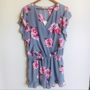 NWT! Gray Floral Romper